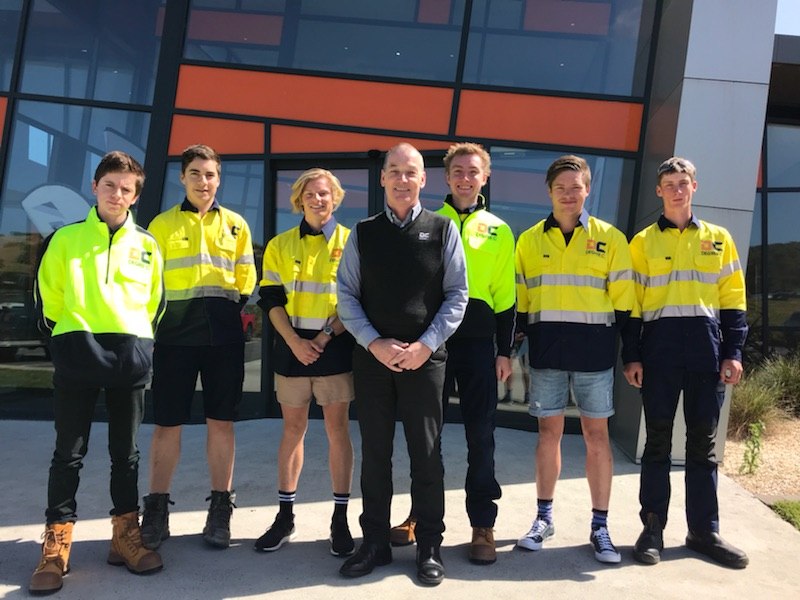 Degree C Apprentices with General Manager Michael Rogers (from left) Sam Grey, Joel McNab, Logan James, Liam King, Jeremy Whelan and Matthew Harrison.