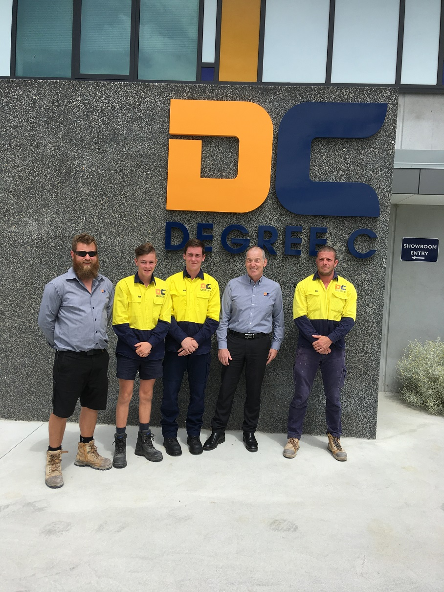 With Degree C General Manager Michael Rogers are (from left) Matthew Smith, Jake Roberts, Joshua Harris and Bradey Young.
